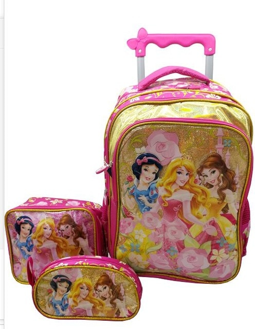 Children Backpack With Wheels Kids Trolley Bags For School Rolling