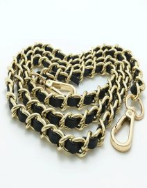 Gold metal chain strap with leather for famous luxury brand handbag Belt Bag Strap Accessories Hardware high quality|Bag Parts & Accessories - light gold 2